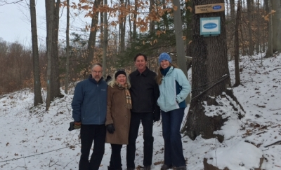 Jim Sirch, HLCT President, Roberta & Tim Mack, Rocky Top neighbors & Lindsay Suhr, CFPA Land Conservation Director celebrate Rocky Top's Protection