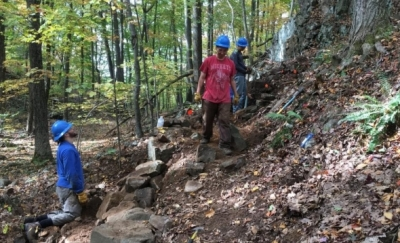 SCA Crew continues work on Mattabesett Trail relocation at Chauncey Peak