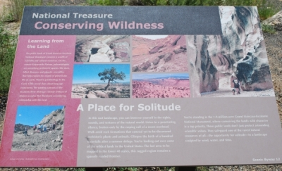 Roadside sign in Grand Staircase-Escalante NM on Scenic Bypass 12