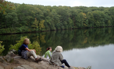 Women of the Woods enjoying the view of Millers Pond