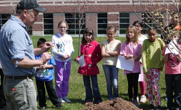 Arbor Day Tree Planting with the Earth Club at Woodside Intermediate School