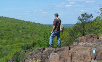 CFPA Trail Manager enjoys the view from Chauncey Peak on the Mattabesett Trail