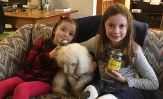 Lily and Clara with CFPA office dog Toby