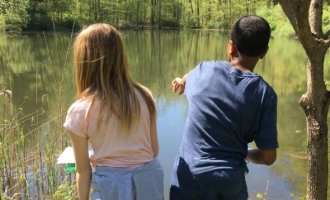 Kids observing wildlife at the pond on Highlawn Forest