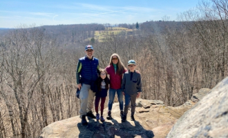 Livingston Family hiking in March 2020.
